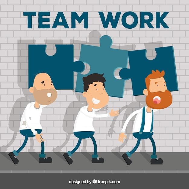 Conceito de trabalho em equipe com design plano Vetor grátis