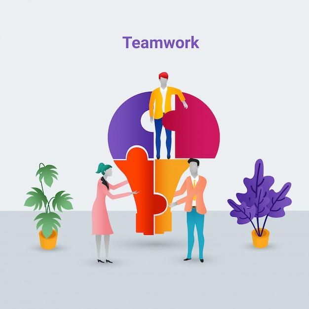 Conceito de trabalho em equipe com pessoas de negócios. Vetor Premium
