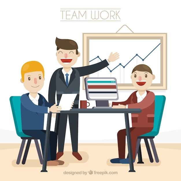 51b516508 Conceito de trabalho em equipe feliz | Baixar vetores grátis
