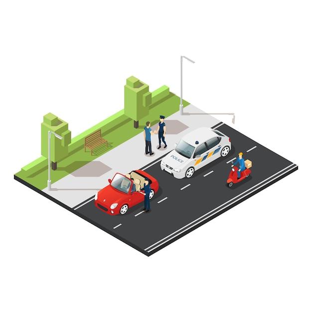 Conceito de tráfego isométrico colorido Vetor grátis