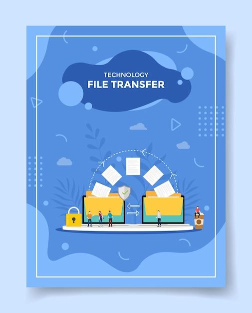 Conceito de transferência de arquivos de tecnologia pessoas em torno de dados de arquivo de pasta enviam para modelo Vetor Premium