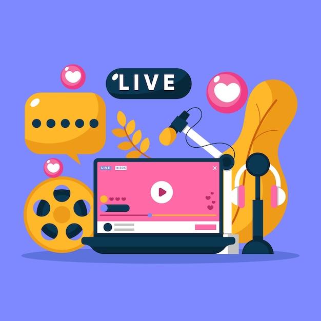 Conceito de transmissão ao vivo Vetor grátis