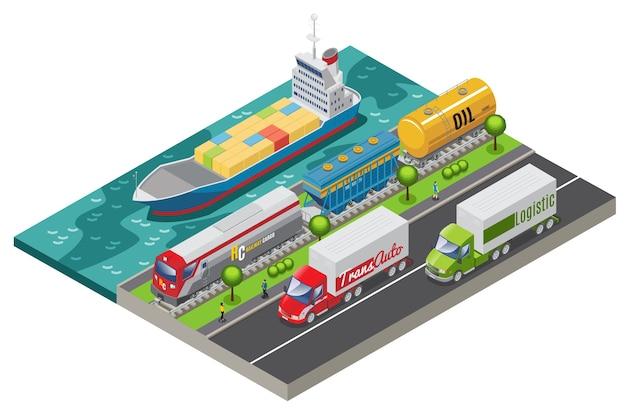 Conceito de transporte logístico isométrico com trem de carga de navio e caminhões transportando carga isolada Vetor grátis