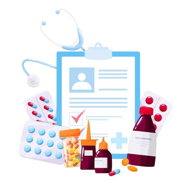 Conceito de tratamento de saúde e medicação. recolha de medicamentos de farmácia em frasco e caixa. comprimido de medicamento e formulário de prescrição. conceito de farmácia e farmacêutico. Vetor Premium