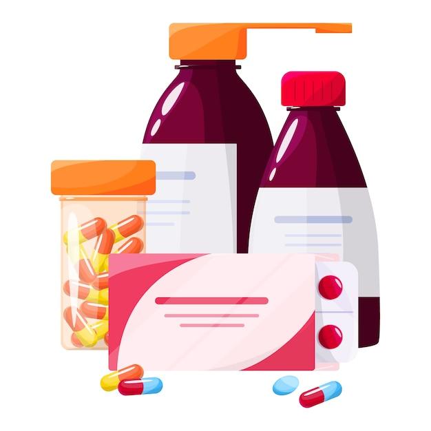 Conceito de tratamento de saúde e medicação. recolha de medicamentos de farmácia em frasco e caixa. comprimido de medicamento em embalagem. conceito de farmácia e farmacêutico. Vetor Premium