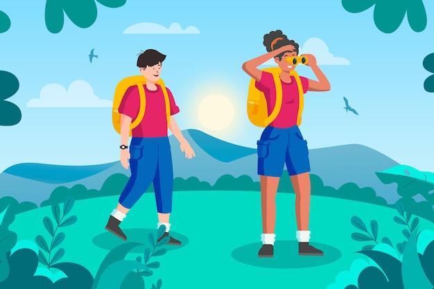 Conceito de turismo ecológico com homem e mulher Vetor grátis