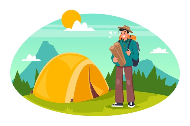 Conceito de turismo ecológico com homem Vetor grátis