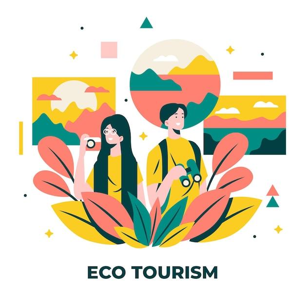 Conceito de turismo ecológico Vetor grátis