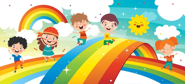 Conceito de um arco-íris colorido Vetor Premium