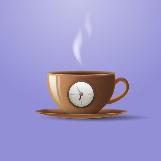 Conceito de uma xícara de café sob a forma de um despertador. Vetor Premium