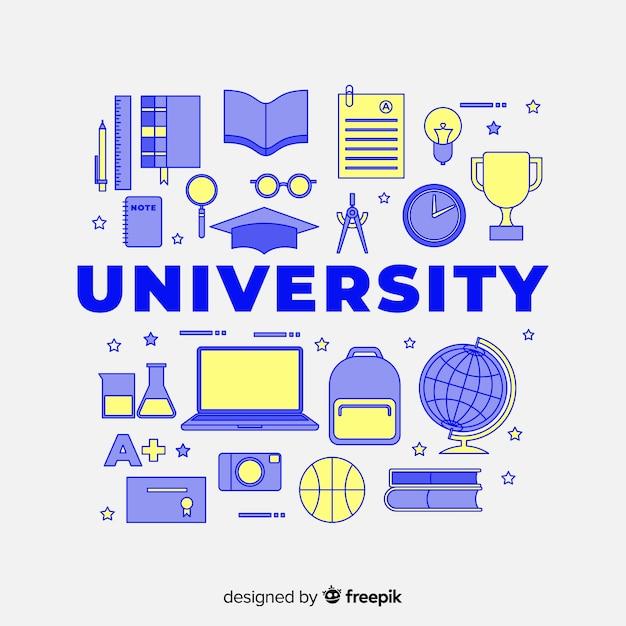 Conceito de universidade plana Vetor grátis