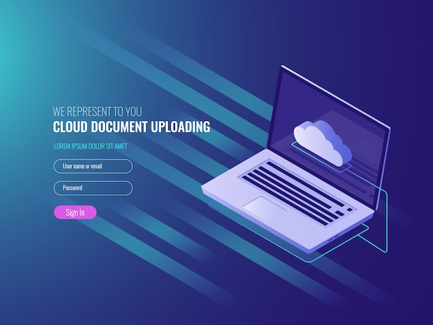 Conceito de upload de documentos em nuvem, cópia e armazenamento de arquivos do servidor clous Vetor grátis
