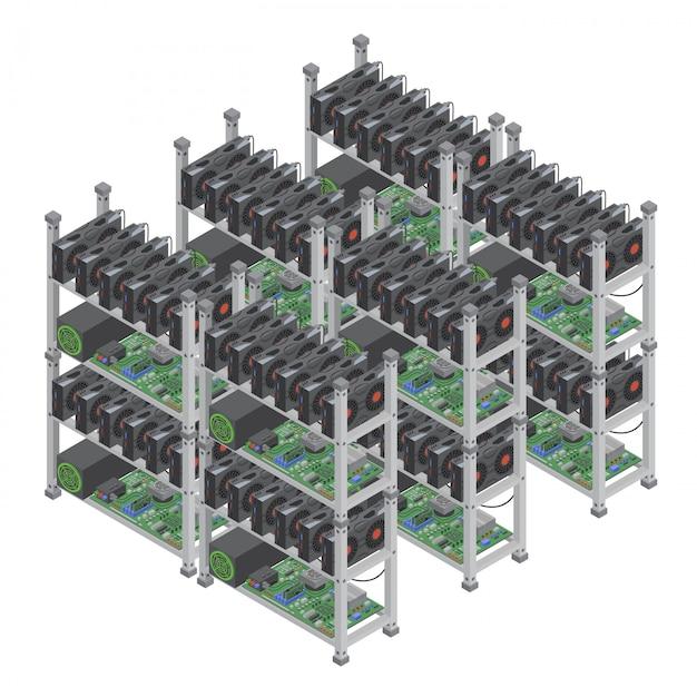 Conceito de várias fazendas de mineração de moeda criptográfica isométrica com placas de vídeo gráficas isoladas. Vetor Premium