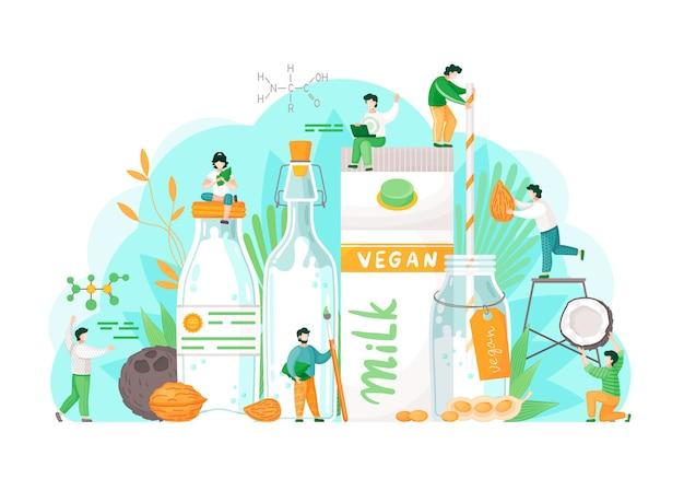 Conceito de veganismo. arroz de amêndoa vegetariana, água de soja e avelã. copo de leite. estilo de vida saudável Vetor Premium