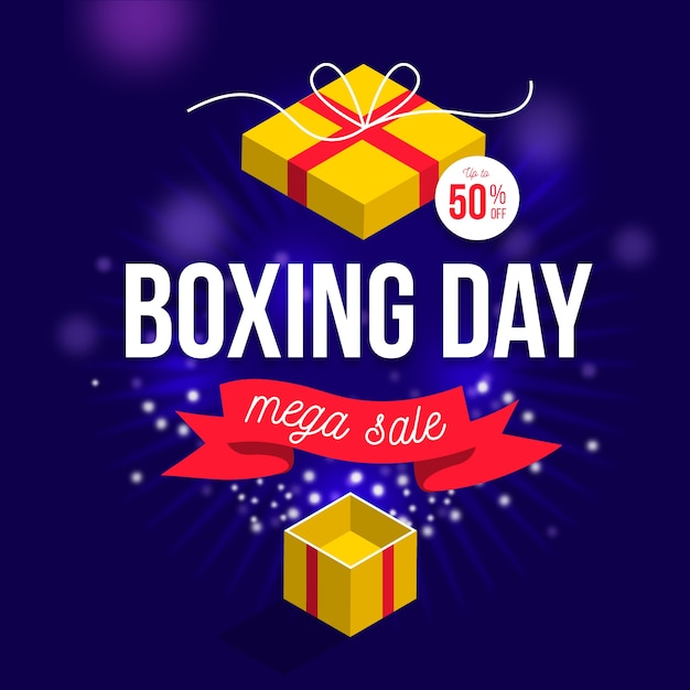 Conceito de venda de dia de boxe de design plano Vetor grátis