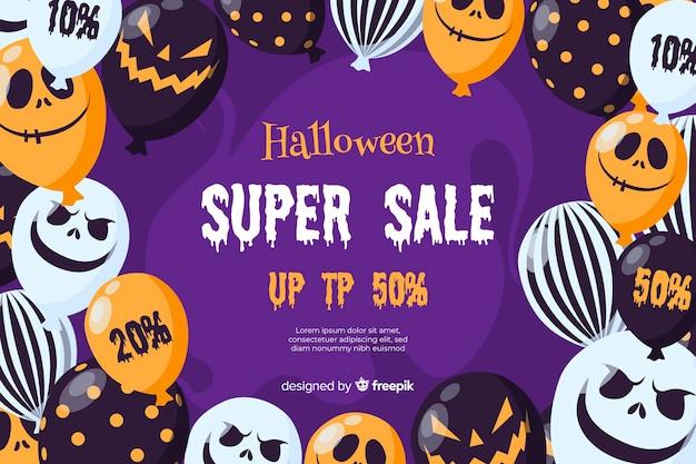 Conceito de venda de halloween com fundo design plano Vetor grátis