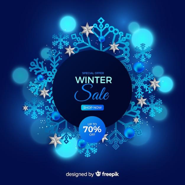 Conceito de venda de inverno realista Vetor grátis