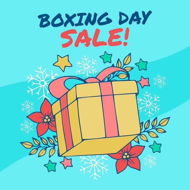 Conceito de venda de mão desenhada dia de boxe Vetor grátis