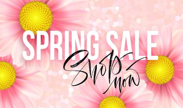 Conceito de venda de primavera. fundo de verão com fundo rosa margarida. ilustração Vetor Premium