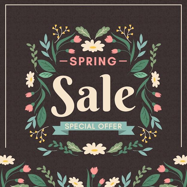 Conceito de venda de primavera vintage Vetor grátis