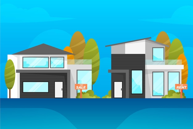 Conceito de venda e aluguel de casas modernas Vetor grátis