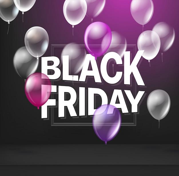 Conceito de venda sexta-feira negra com balões. Vetor Premium