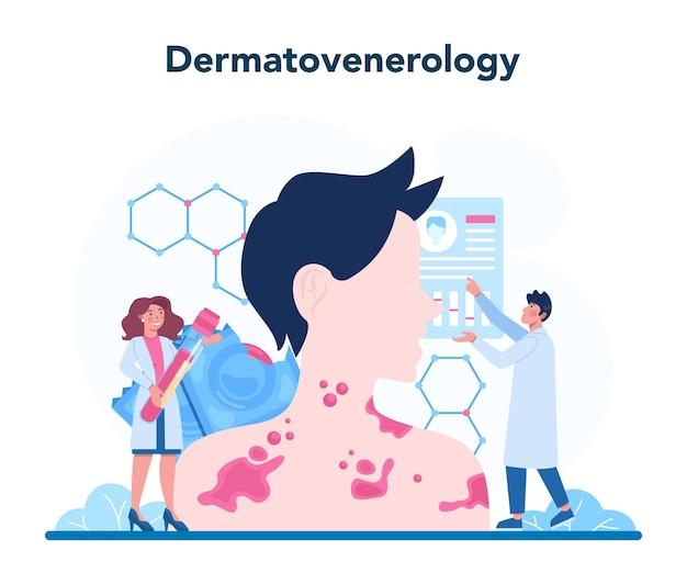 Conceito de venereologista. diagnóstico profissional de doenças dermatológicas Vetor Premium