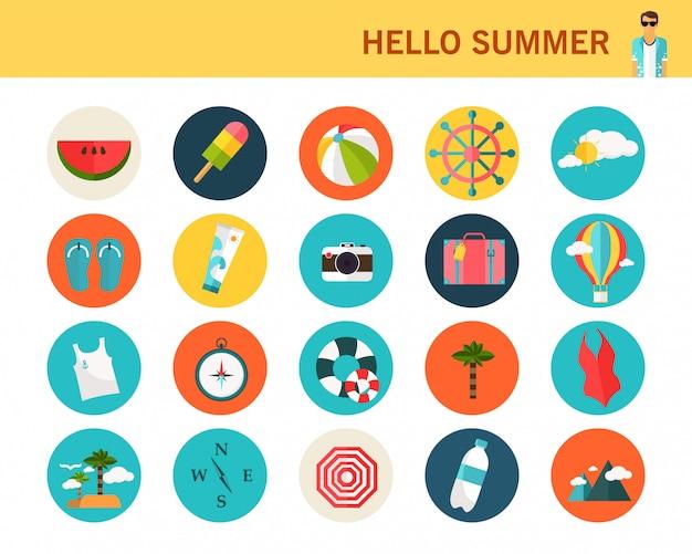 Conceito de verão feliz flat icons. Vetor Premium