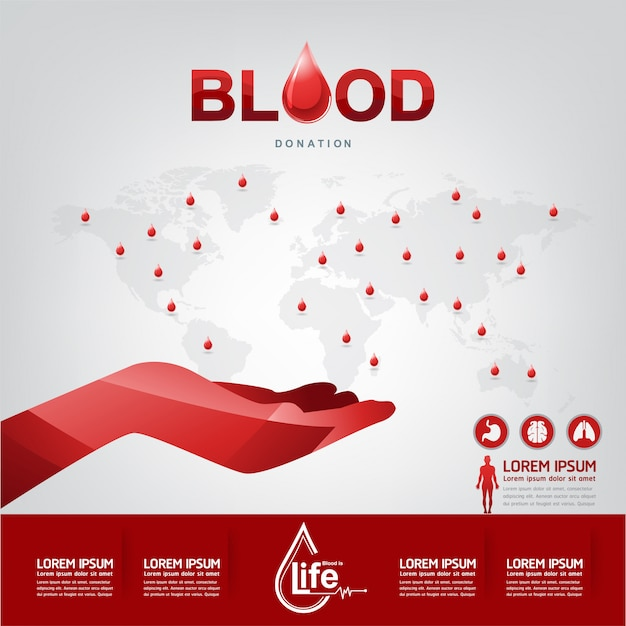 Conceito de vetor de doação de sangue Vetor Premium