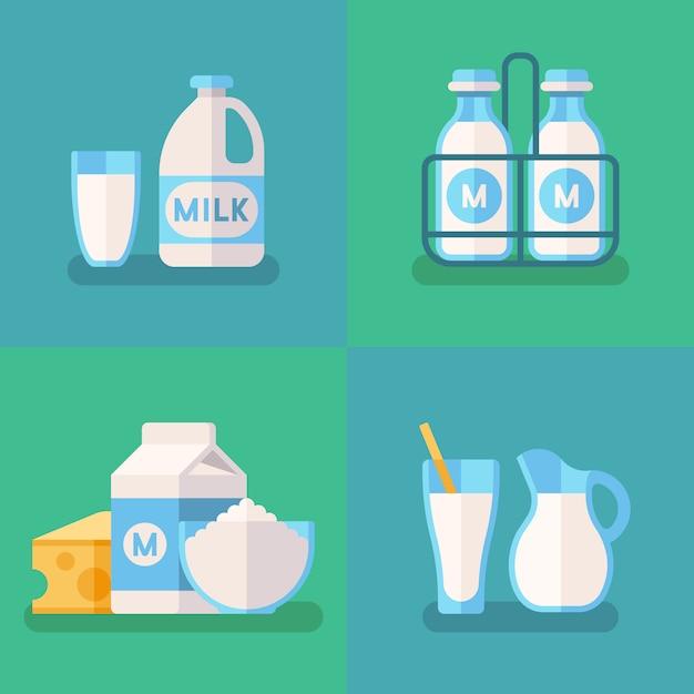 Conceito de vetor de leite orgânico fresco Vetor Premium