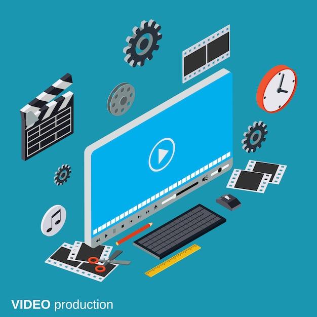 Conceito de vetor de produção de vídeo Vetor Premium