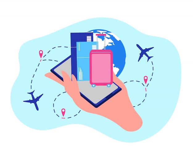 Conceito de vetor de serviços on-line de empresa aérea Vetor Premium