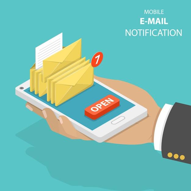 Conceito de vetor isométrica plana de notificação de e-mail. Vetor Premium