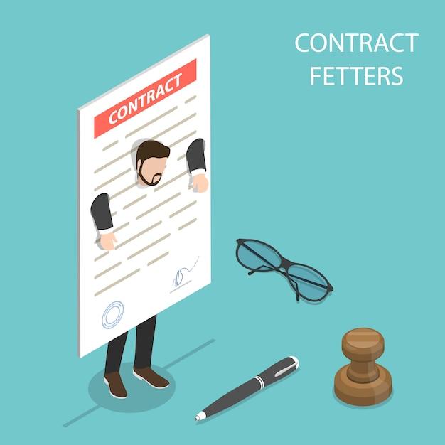 Conceito de vetor isométrico plano de grilhões de contrato, obrigações comerciais. Vetor Premium