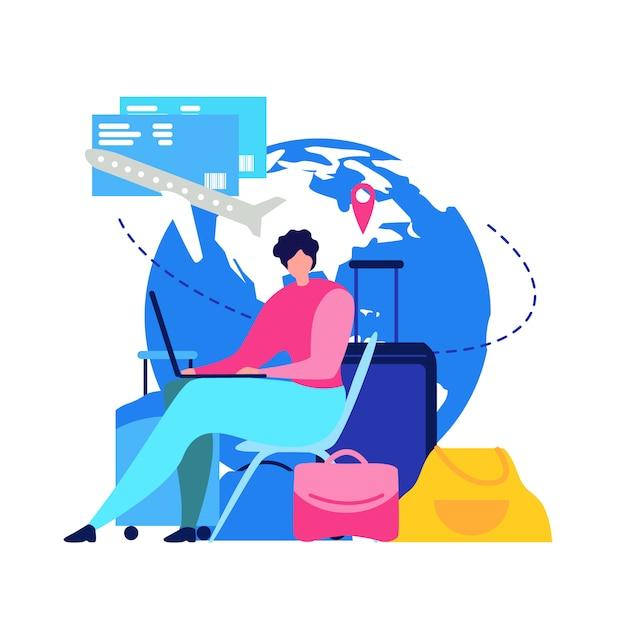 Conceito de vetor plana on-line bilhetes de voo reserva Vetor grátis