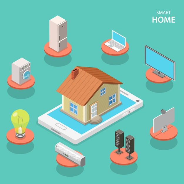 Conceito de vetor plano isométrico casa inteligente. Vetor Premium