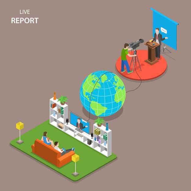 Conceito de vetor plano isométrico de reportagem ao vivo. Vetor Premium
