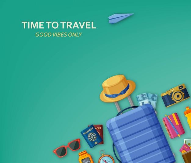 Conceito de viagem com mala, óculos escuros, chapéu, câmera e bilhetes em fundo turquesa. voando de avião de papel na parte de trás. apenas boas vibrações. ilustração. Vetor Premium