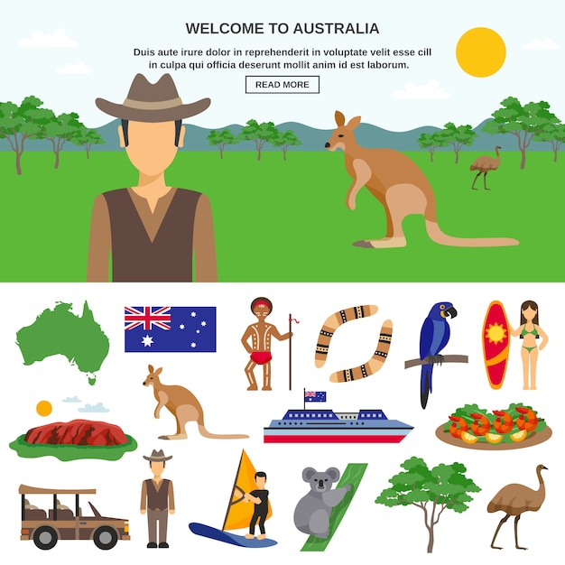 Conceito de viagem na austrália Vetor grátis