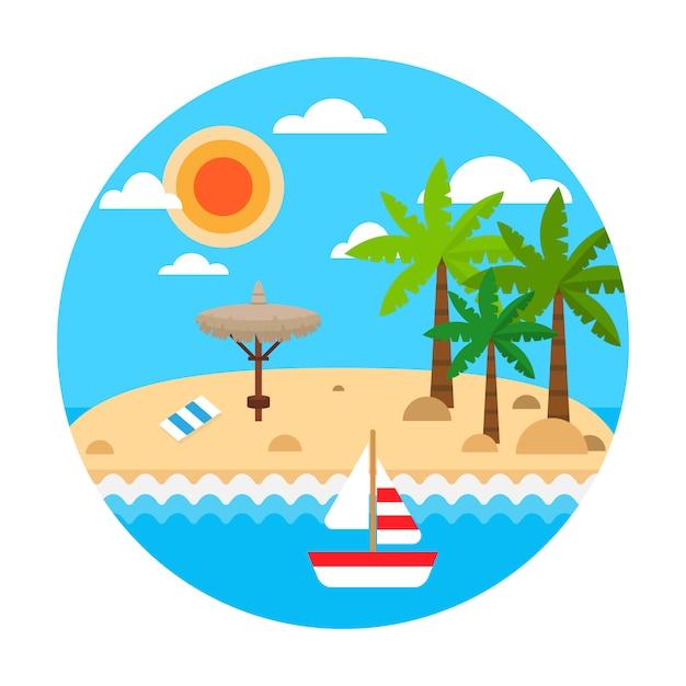 Conceito de viagens. férias de verão na praia de areia. vector verão viagem banner com ondas, palm, guarda-chuvas de palha, navio de vela, nuvens. Vetor Premium