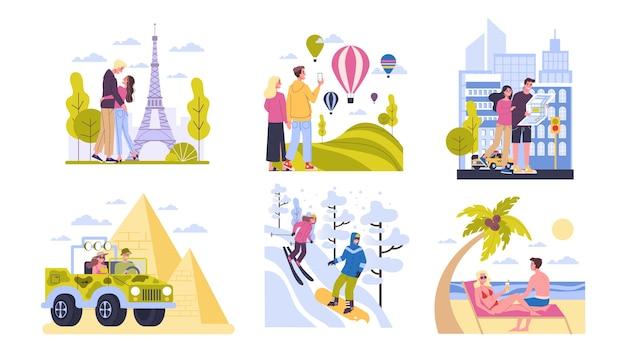 Conceito de viagens. ideia de turismo ao redor do mundo. casal feliz tendo férias e férias no exterior. aventura na europa, américa, egito. viagem de fim de semana. ilustração Vetor Premium