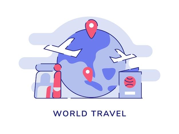 Conceito de viagens mundiais, avião, ponteiro voador, localização, terra, mochila, passaporte, branco, isolado, fundo Vetor Premium