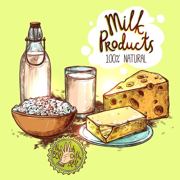 Conceito de vida de produto de leite ainda Vetor Premium