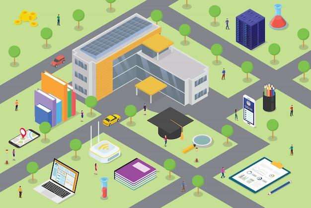 Conceito de vida do campus universitário com grande edifício e algum ícone relacionado na educação com algum aluno na área do campus com moderno estilo isométrico Vetor Premium