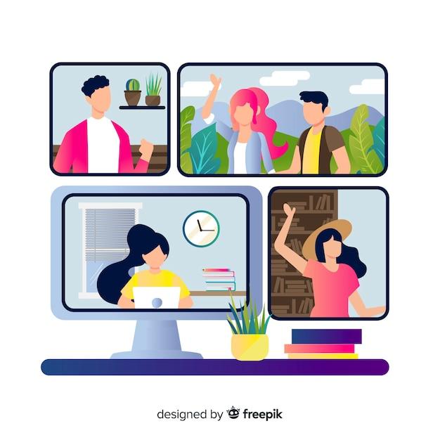 Conceito de videoconferência para a página de destino Vetor grátis