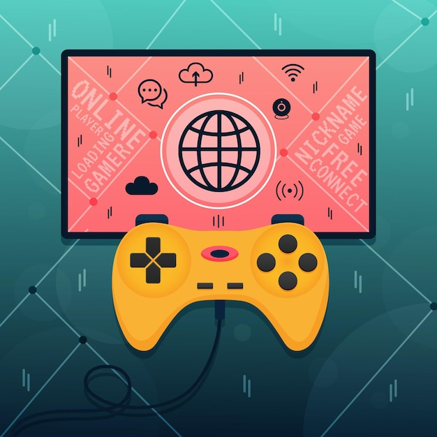 Conceito de videogame on-line e lan Vetor grátis
