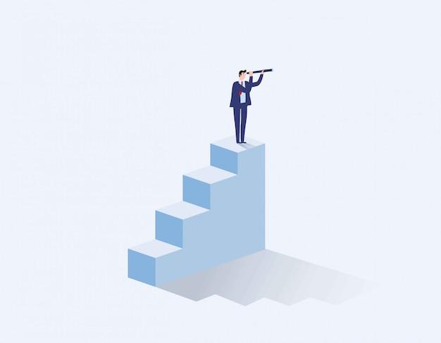 Conceito de visão nos negócios com o ícone de vetor Vetor Premium
