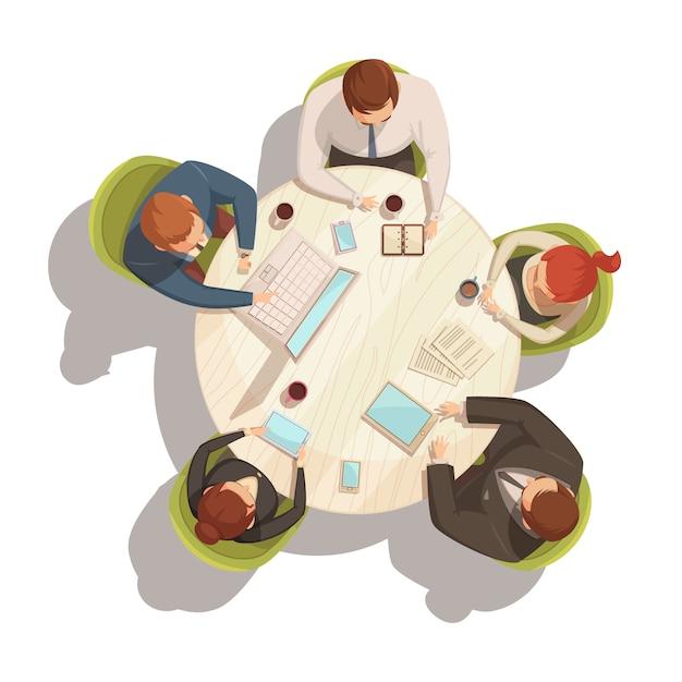Conceito de vista superior do negócio reunião dos desenhos animados com ilustração vetorial de tabela e pessoas Vetor grátis