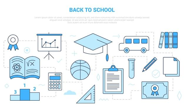 Conceito de volta às aulas com modelo de conjunto de ícones com estilo moderno de cor azul Vetor Premium