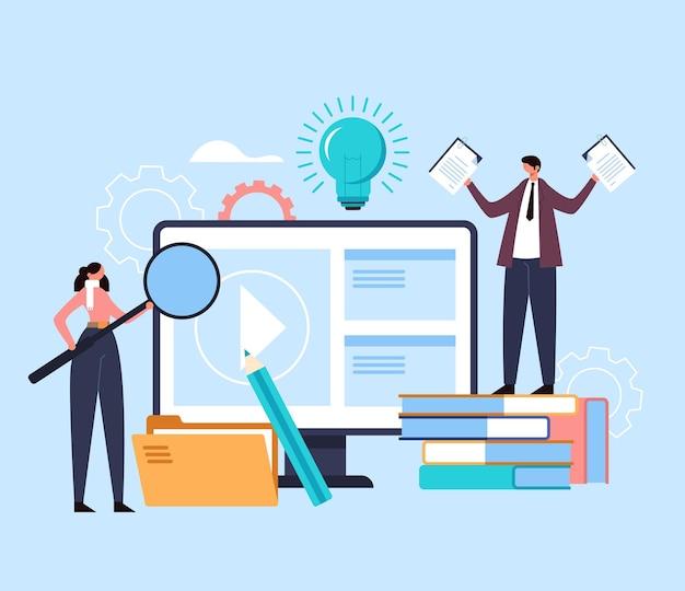 Conceito de webinar tutorial digital de seminário educacional de aprendizagem na web. Vetor Premium
